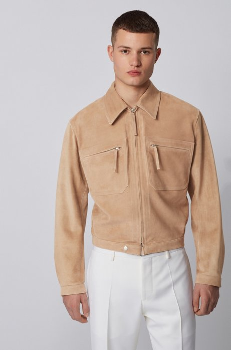 Slim-fit blouson jacket in cashmere-touch suede, Light Brown