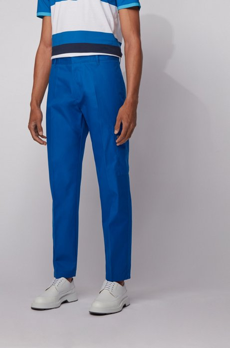 Tapered-fit cargo pants in Italian cotton twill, Blue