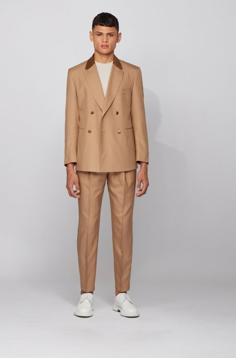 Double-breasted relaxed-fit tuxedo suit in Italian silk, Light Brown