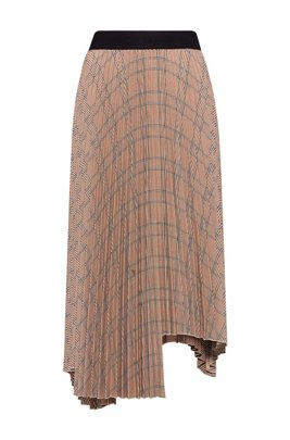 Plissé A-line skirt with all-over checked pattern, Light Brown