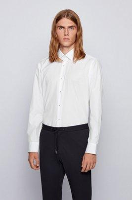 Regular-fit shirt in easy-iron cotton poplin, White