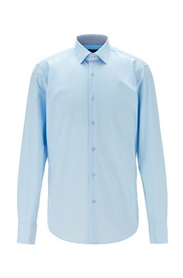 Regular-fit shirt in easy-iron cotton poplin, Light Blue