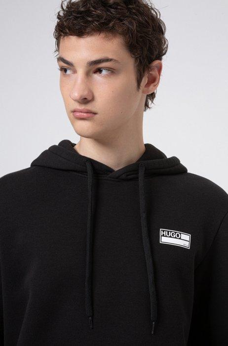 Cotton-blend fleece hoodie with manifesto graphics, Black
