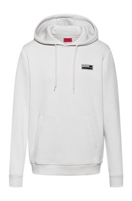 Cotton-blend fleece hoodie with manifesto graphics, Light Beige