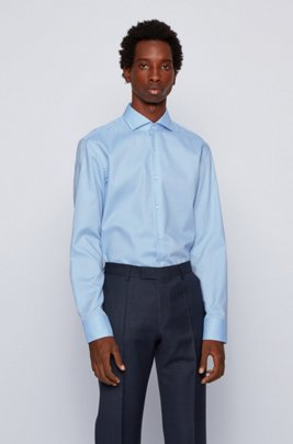 Slim-fit shirt in micro-structured easy-iron cotton, Light Blue