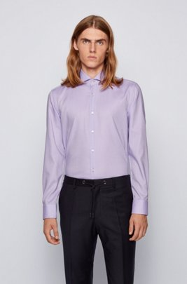 Slim-fit shirt in micro-structured easy-iron cotton, Dark pink