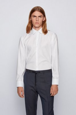 Slim-fit shirt in easy-iron micro-structured cotton, White