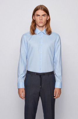 Slim-fit shirt in easy-iron micro-structured cotton, Light Blue