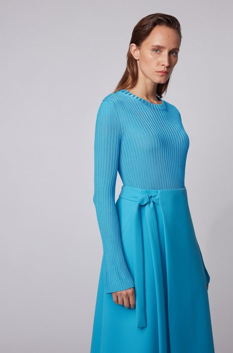 Slim-fit crew-neck sweater in double-rib fabric, Turquoise