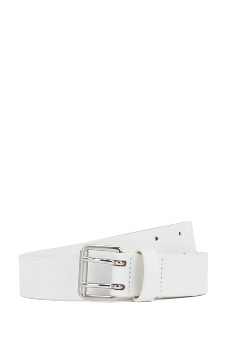 Fashion Show belt in Italian leather with rounded buckle, White