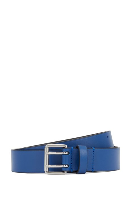 Fashion Show belt in Italian leather with rounded buckle, Blue