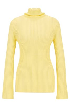 Slim-fit sweater in double-rib fabric, Yellow