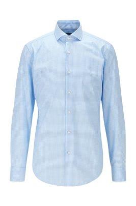 Slim-fit gingham shirt in easy-iron cotton poplin, Light Blue