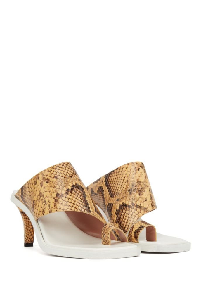 Python-print mules in Italian leather