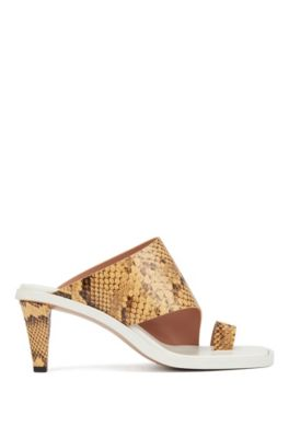 Python-print mules in Italian leather, Dark Yellow