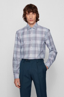 Slim-fit shirt in colorful Glen-checked cotton twill, Dark Blue