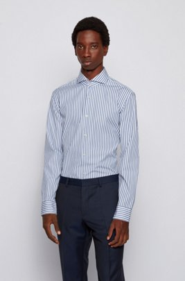 Striped slim-fit shirt in washed cotton poplin, Dark Blue