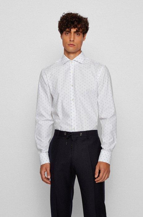 Slim-fit shirt in fil coupé cotton, White