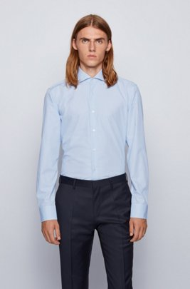 Slim-fit shirt in micro-checked dobby cotton, Light Blue