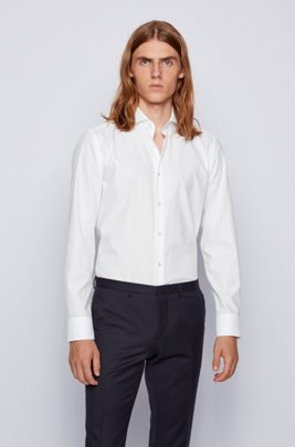 Slim-fit shirt in structured cotton twill, White