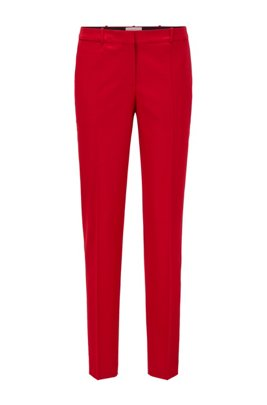 Regular-fit cropped pants in traceable stretch virgin wool, Red