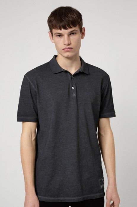 Garment-dyed polo shirt in Recot²® cotton piqué, Silver