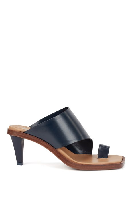 Italian-leather mules with toe loop, Dark Blue