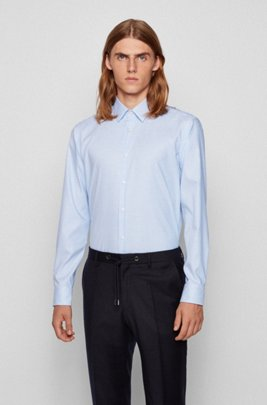 Regular-fit shirt in anti-odor cotton, Light Blue