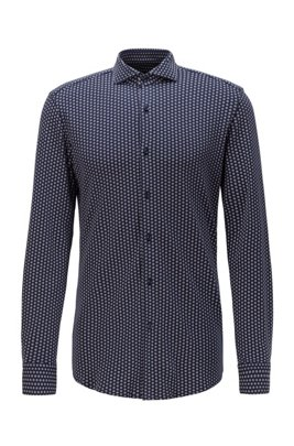 Slim-fit shirt in polka-dot-print cotton jersey, Dark Blue