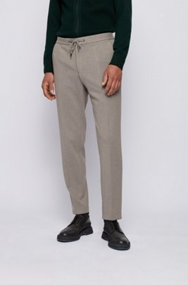 Slim-fit pants in stretch fabric with drawstring waist, Grey