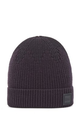 Mixed-structure beanie hat with logo badge, Dark Blue