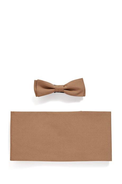 Cummerbund and bow tie set in silk, Light Brown