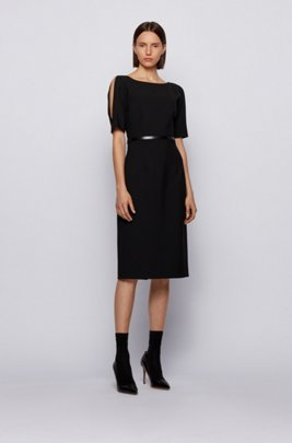 Shift dress in stretch fabric with cut-out shoulders, Black