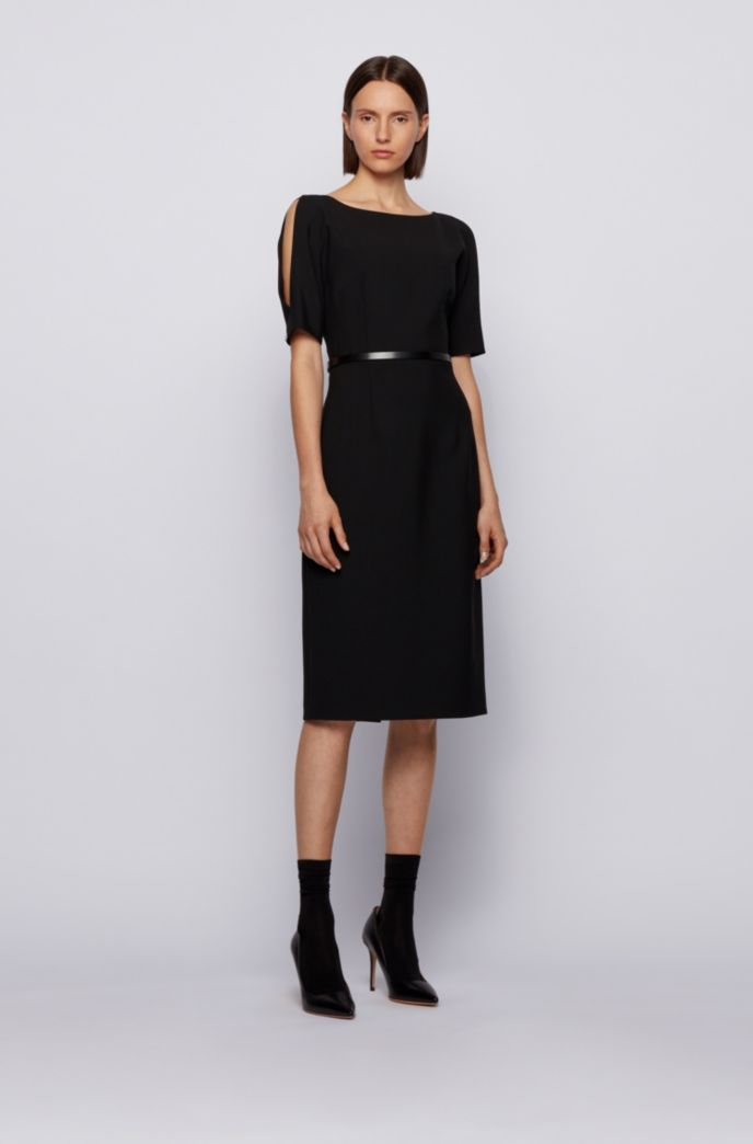 Shift dress in stretch fabric with cut-out shoulders