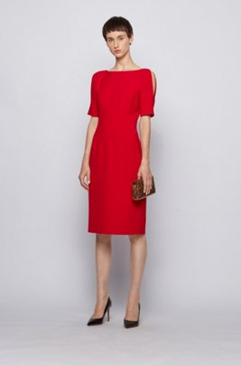 Shift dress in stretch fabric with cut-out shoulders, Red