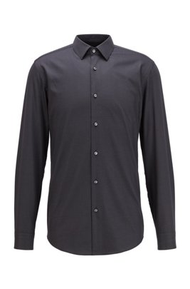 Slim-fit shirt in stretch-cotton twill, Black