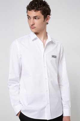 Relaxed-fit shirt in cotton with collection-themed print, White