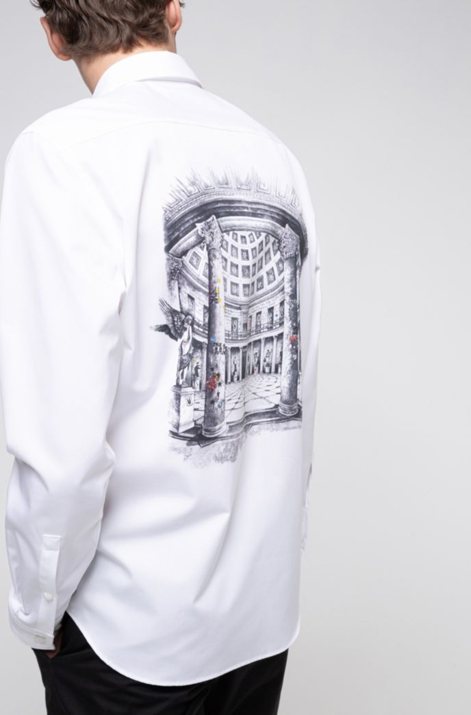 Relaxed-fit shirt in cotton with collection-themed print