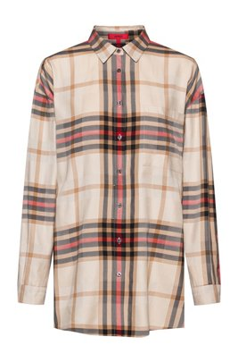 Relaxed-fit checked blouse with side slits, Light Brown