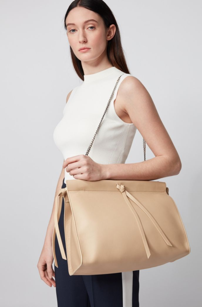 Large clutch bag in smooth leather
