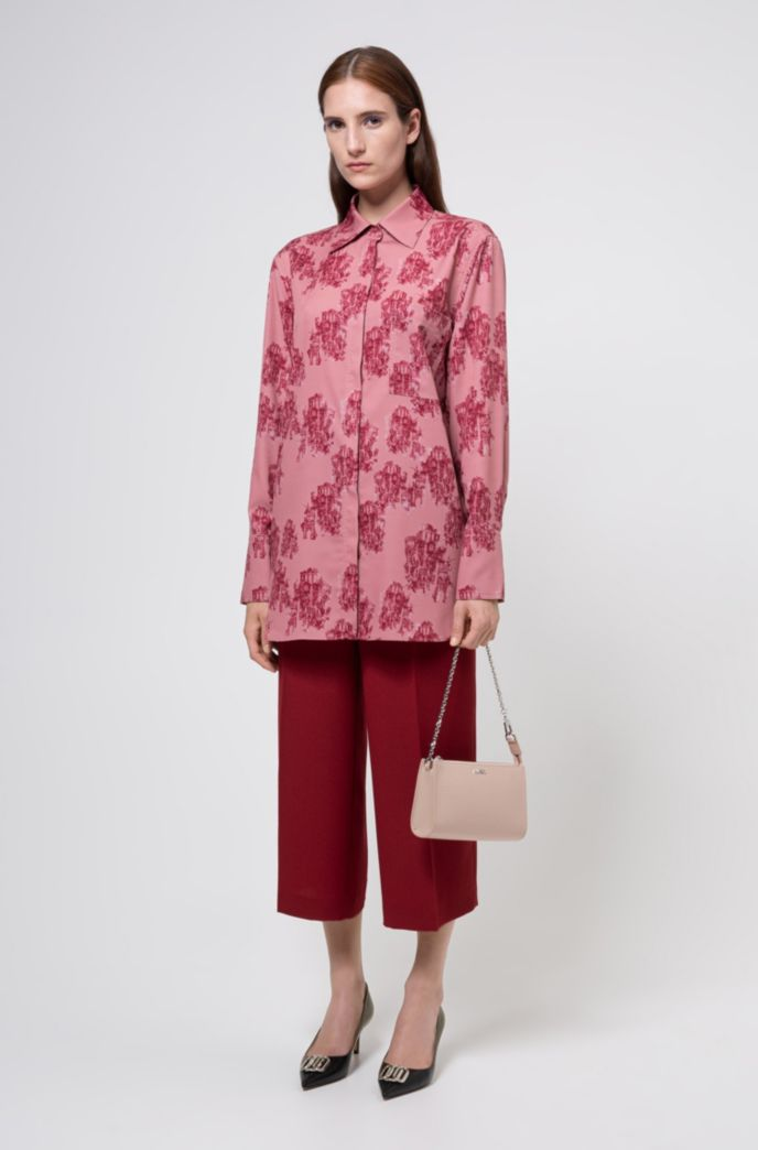 Relaxed-fit blouse in toile-printed crepe