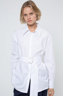 Relaxed-fit cotton blouse with fabric belt, White