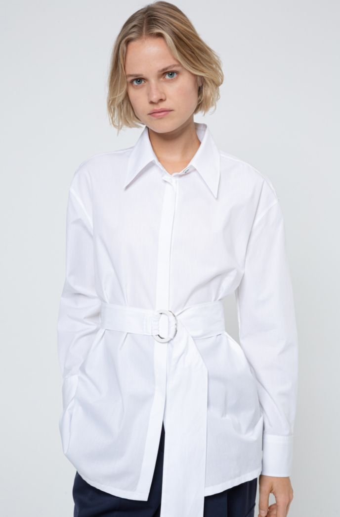 Relaxed-fit cotton blouse with fabric belt