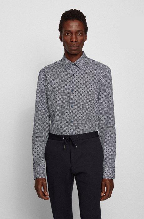Slim-fit shirt in monogram-print Italian cotton, Dark Blue