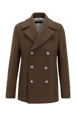 Wool-blend peacoat with double-breasted closure, Light Green