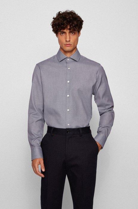Regular-fit shirt in structured cotton, Dark Blue