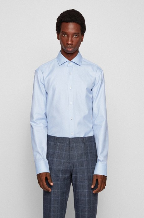 Regular-fit shirt in micro-structured cotton twill, Light Blue