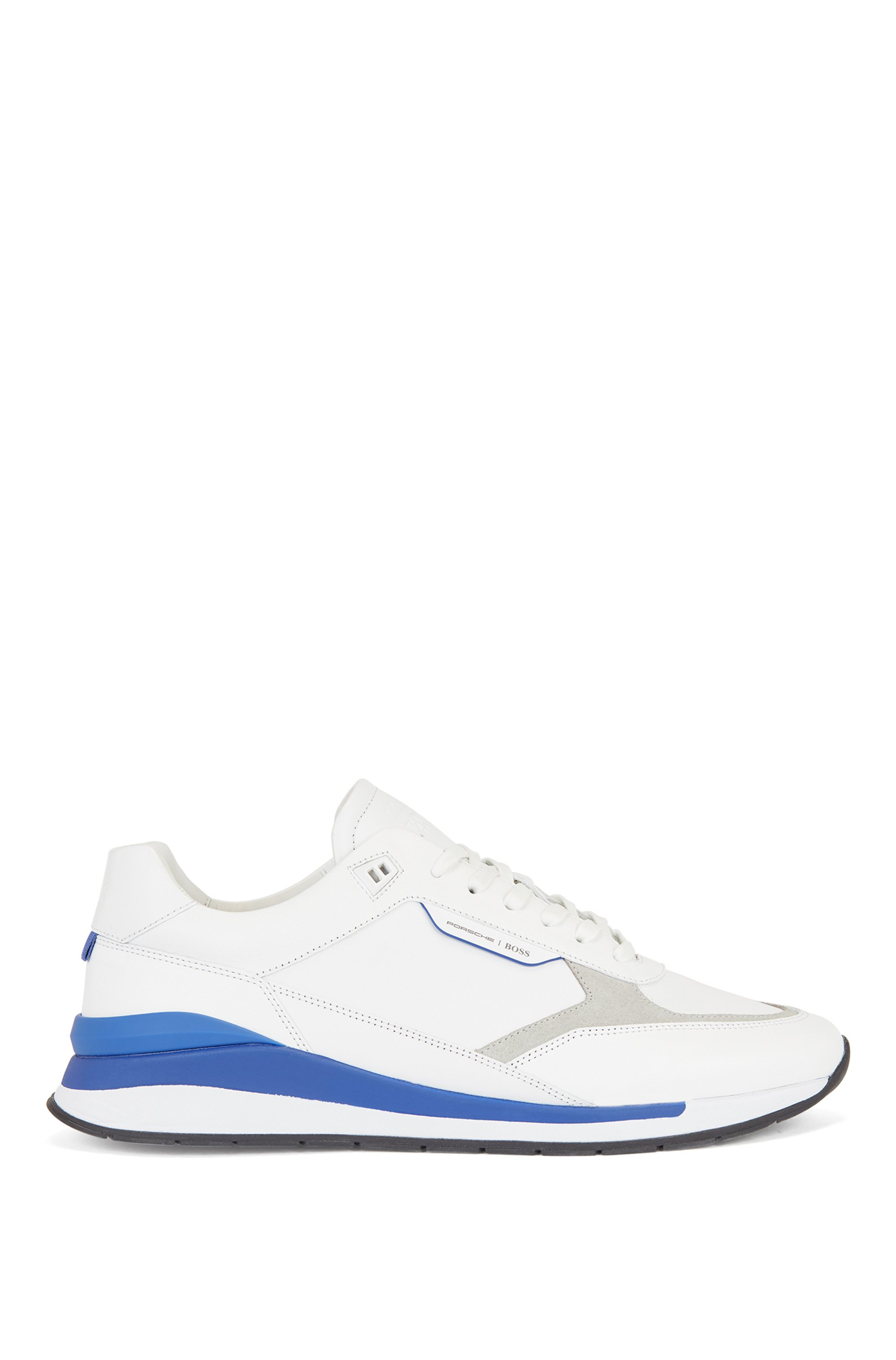 Mixed-leather trainers with exclusive branding, White