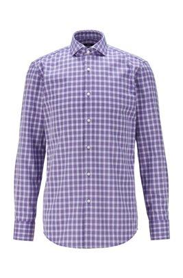 Slim-fit shirt in Vichy-check cotton, Purple