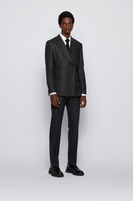Slim-fit suit in pinstripe virgin wool, Light Grey